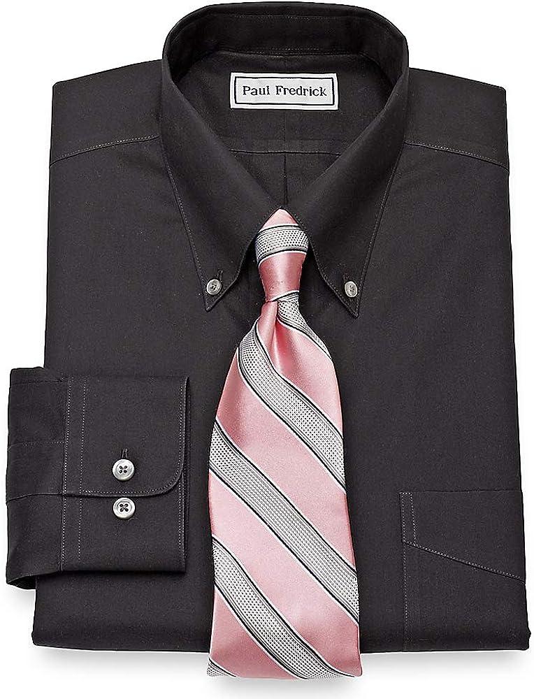 Paul Fredrick Men's Non-Iron 2-Ply Cotton Button Down Collar Dress Shirt, Size 18.0/35 Black