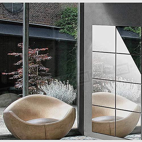 8 Láminas Espejo Adhesiva decoracón para Pared hogar Moderno -Pegatinas Vinilo Espejo Cuadrado de Pared Adhesivo para habitación salón baño ect (Plateado, 20_x_20_cm)