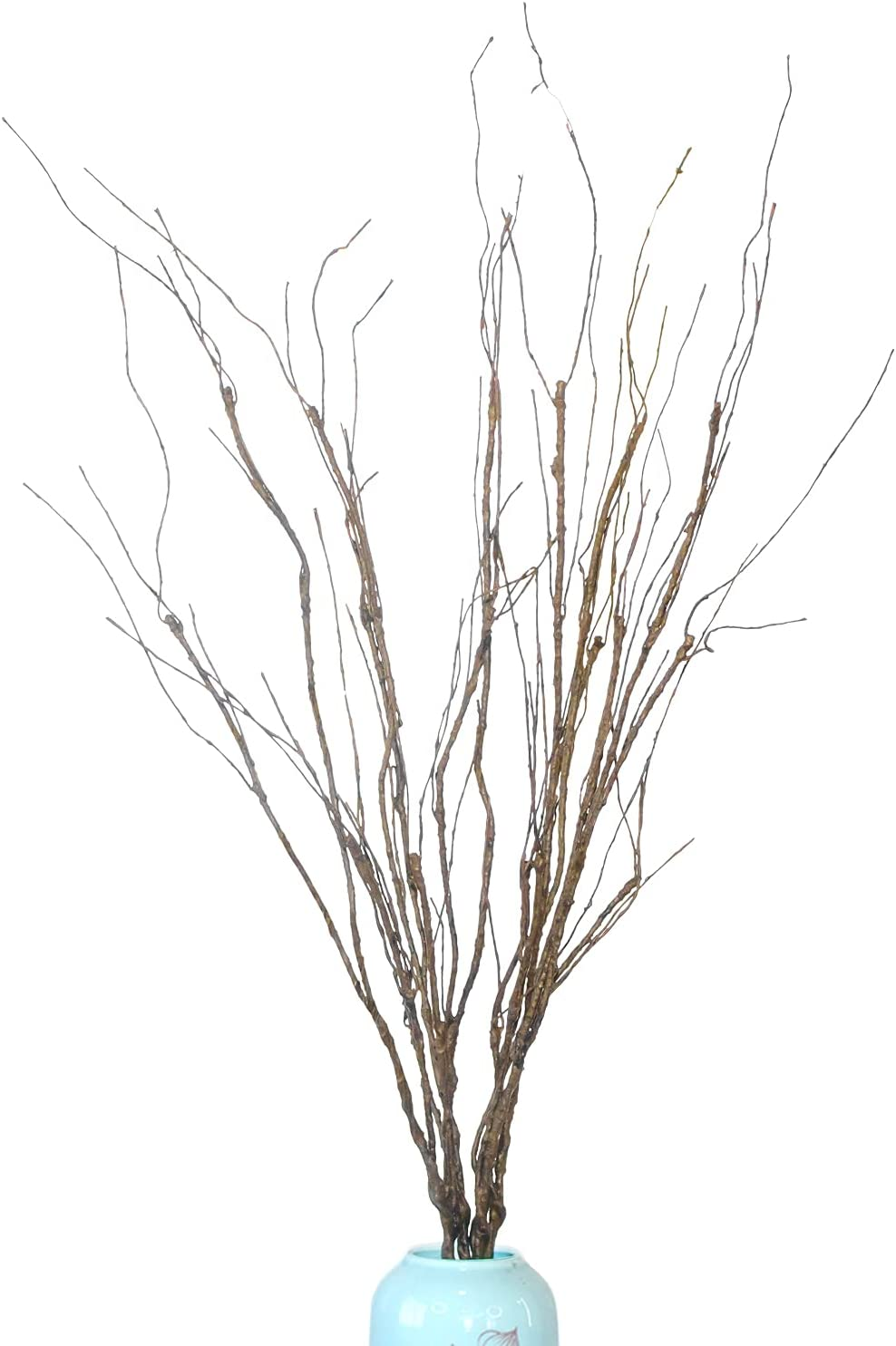 MGS 6 Pcs of 30.7 Inches Curly Willow Branches Artificial Twigs, Twisted Sticks Artificial Branches Bendable Iron Wires Stub Steml Plants Greenery Brown Branches, For Décor DIY Crafts Twisted Branches