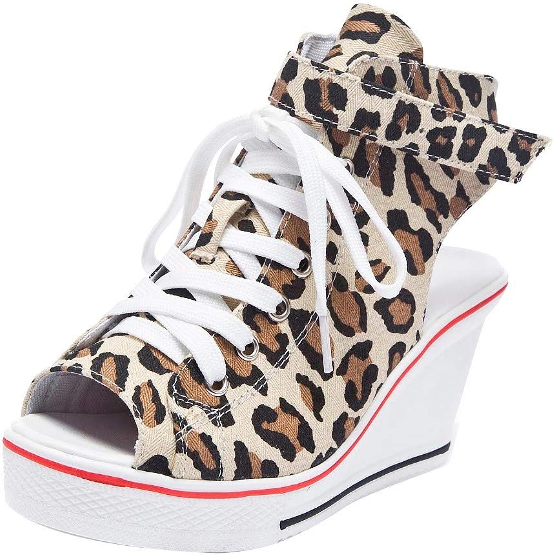 Quaan Frauen Wedges Schuhe Hohe Pumps Casual Leopard Schuhe Fish Mouth Plateauschuhe