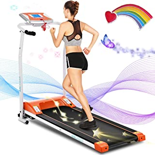 ANCHEER Fold Up Treadmill,Compact Treadmills with LCD Monitor Motorized,12 preset Programs,New Levels Indoor Walking Jogging Running Exercise Machine Trainer for Home &Office Workout
