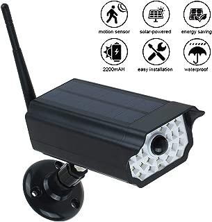 INDARUN Camera-like Solar Motion Sensor Spotlight, Waterproof 30LED 2200mAh Outdoor Security Lamp with 360° Rotatable Spherical Bearing and 3 Lighting Modes for Garden Porch Farm Garage Yard - Black