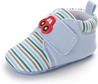 XYAN Spring Autumn Winter Boy Soft Bottom Non-slip Baby Toddler Shoes Magic Tape Stripe Cotton Pattern Car Keep Warm 0-1-Y...