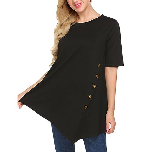 56f2c2d4daa Sweetnight Women s Casual Short Long Sleeve Side Button T-Shirt Blouse  Tunics Top Plus Size