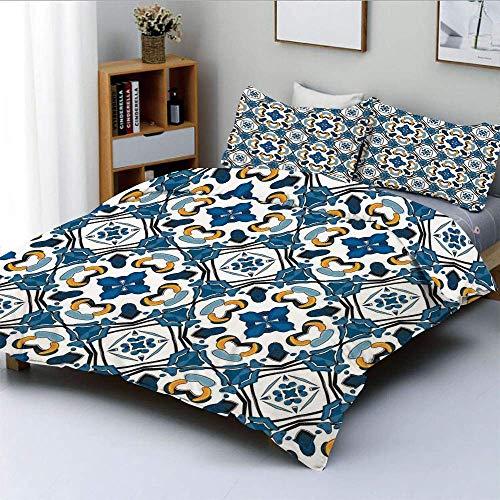 Juego de funda nórdica, cerámica portuguesa, azulejos clásicos, artesanía, construcción, imagen europea, impresión, juego de cama decorativo de 3 piezas con 2 fundas de almohada, azul real, el