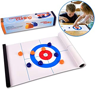 ROPODA Tabletop Curling Game-Compact Curling Board Game, Mini Table Games for Family, School, Office or Travel Play