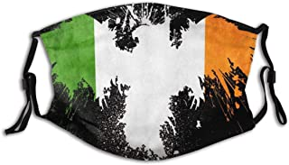 BYJHMB Grunge Flag of Ireland Cotton Washable Nose Wired Face Cover Filter Pocket Wide Cover with Filter