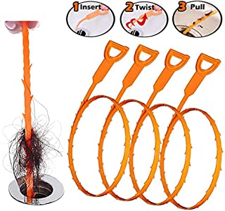 USSASA Drain Cleaner and Cleaning Tool- Hook Catcher Unclogger(Drain Clog Remover,Drain Hair Catcher,Multi-Tooth Drain Snakes Drain Cleaning Tool,4 Pack-Orange(2 PCS 23.6 inch + 2 PSC 19.6 inch)