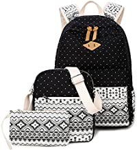Goldwheat Fashion Dot Set Canvas School Backpack Lightweight Casual Laptop Bag Teen Girls Boys School Shoulder Bag Daypack Handbag(Black)
