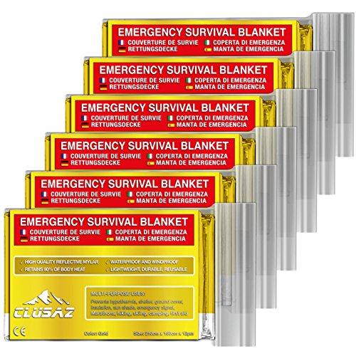 CLUSAZ Manta de Emergencia Oro XL 210x160cm (Paquete de 6) Retiene hasta el 90% del Calor, Impermeable, Esquí, Maratón, Senderismo, Campamento, Primeros Auxilios, Seguridad Vial - GARANTÍA