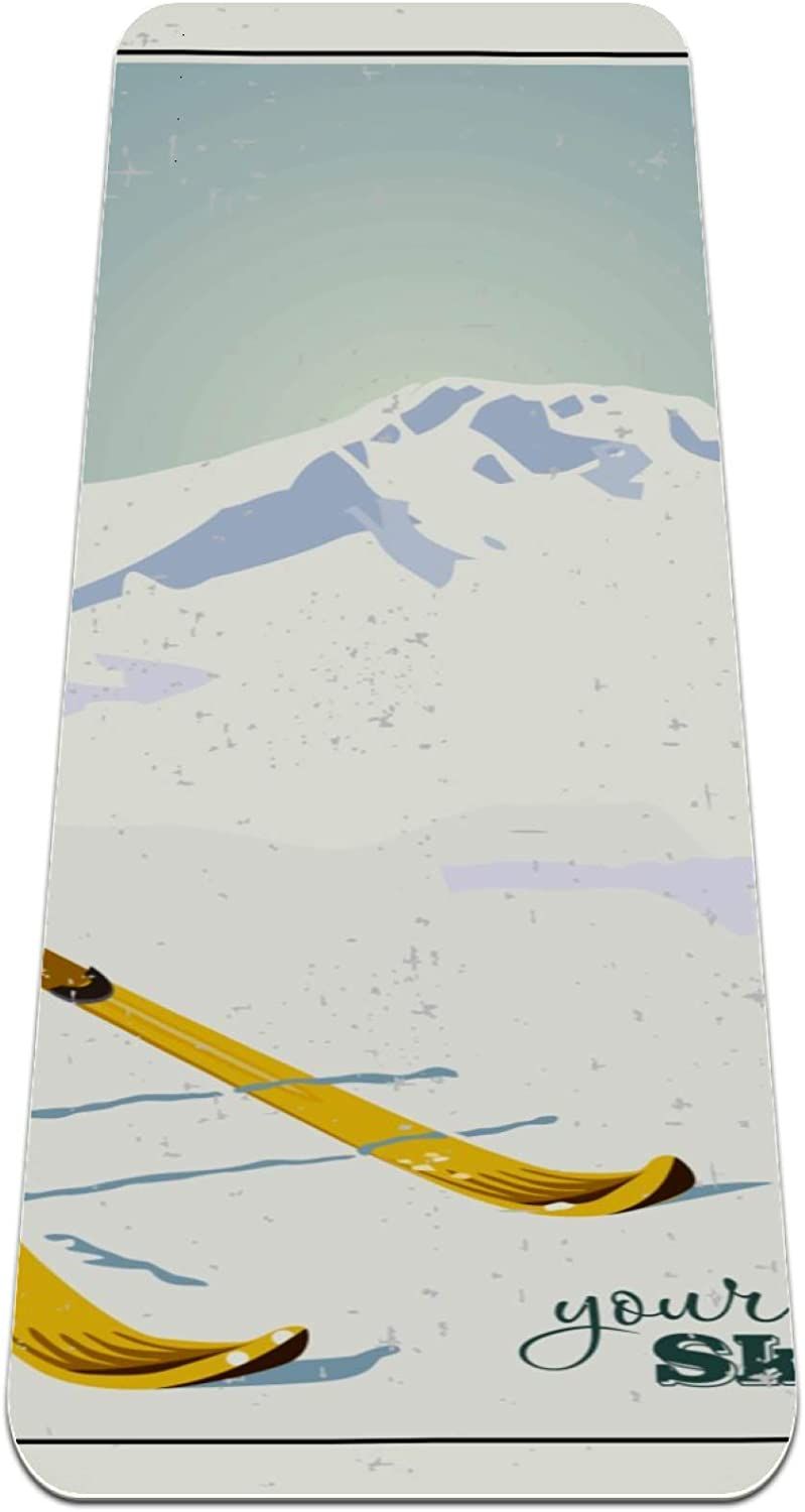 Yoga Mat Mountains Max 74% OFF and Ski Extra Cheap mail order specialty store Equipment Reversible Snow in