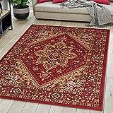 Carpeto Rugs Alfombra de salón Oriental Persa Pelo Corto Rojo Bordò 160x230 cm