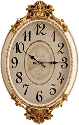 Imoerjia European Clocks, Stylish and Creative Wall Clock Hanging in Living Room Oval Table Home