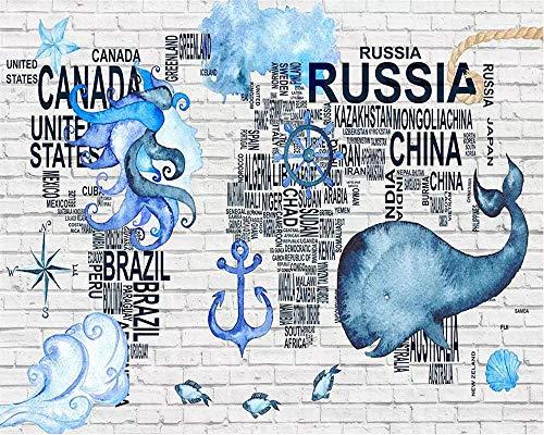 HDDNZH muurschildering Custom 3D grote muurschildering behang aquarel nautisch symbool wereldkaart TV sofa achtergrond de muur kinderkamer slaapkamer Home Decor 60cm(H)×120cm(W)