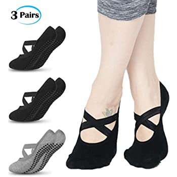 Calcetines de Yoga, 3 Pares Pilates o Danza con Base Antideslizante, Yoga Socks, Perfectos para Pilates, Yoga, Ballet, Baile, Fitness, Hogar, etc