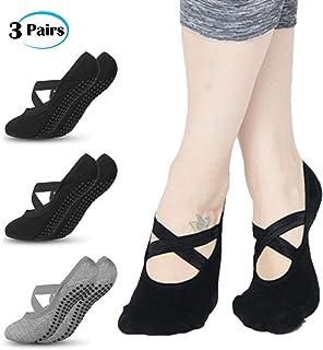 3 Pares Calcetines Yoga Antideslizantes de Mujeres Deportivos para Ejercicio Interior, Cómodo Pilates,Yoga,Ballet,Baile,Fitness,etc