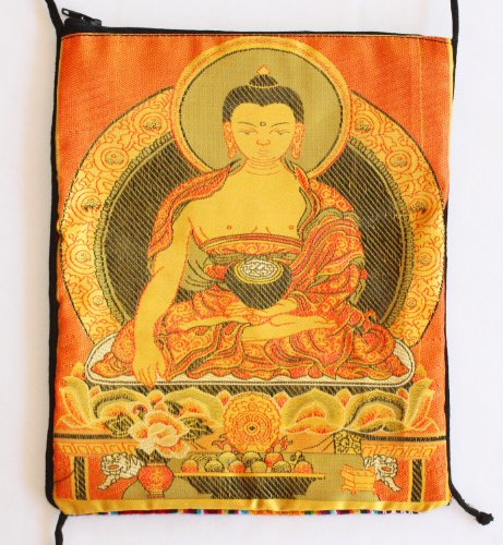Tarot Bag with Golden Buddha - Silk and Bhutanese Cotton Tapestry with Zipper