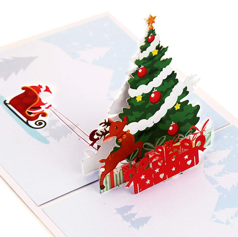 Tomorrow Sun Shine 10-Pack Feliz Navidad Conjunto De Tarjetas De Felicitación, Árbol De Navidad Pop Up, Vacaciones De Invierno, Año Nuevo/ Tarjetas De Cumpleaños (15 * 15Cm): Amazon.es: Hogar