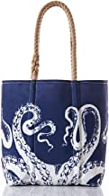 product image for White on Navy Octopus Tote Recycled Sail Cloth with Rope Handles