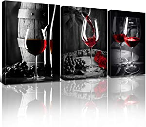 Wine Decor for Kitchen Red Wall Art Glass Cups Dining Room Prints Decor Black and White Goblet Bar Canvas Pictures Decorations 7x10 Inch Modern Vintage Barrel Fruit Living Room Bedroom Home Posters