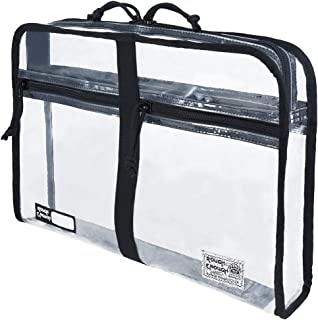 Rough Enough Plastic Clear Document Organizer Folder File Bag Pouch A4 Big Large for Paper Notebook Manila Envelopes Letter Size Case with Zipper Pockets for Filing Office School Art Supplies