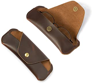 Eyeglasses Case Soft for Man Women Crazy Horse Leather Vintage Sunglasses Handmade Eyewear Protective Holder Brown