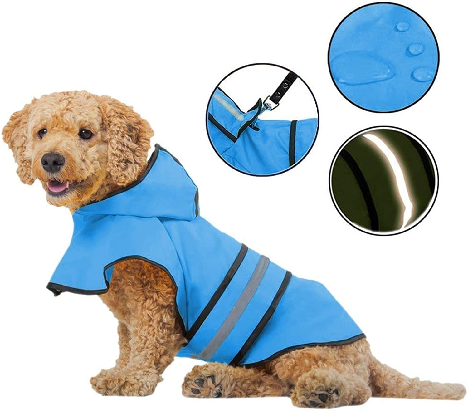 Raincoat for Dogs  Lightweight Dog Rain Jacket  Adjustable Dog Raincoats for Small Medium Large Dogs, Breathable Dog Rain Coats with Safe Reflective Stripes