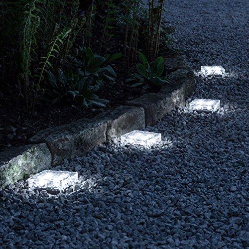 Lights4fun 4er Set LED Solar Glas Pflastersteine Wegbeleuchtung weiß groß