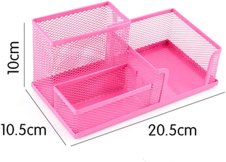 CWT-Storage Box Schreibwaren-Aufbewahrungsbox Eisengitter Multifunktions-Schreibwaren-Aufbewahrungsbox Desktop-Aufbewahrungsbox Große Eimerkette (Farbe (Farbe (Farbe   Rosa) B07Q991MDS | Exquisite Verarbeitung  2fb90e