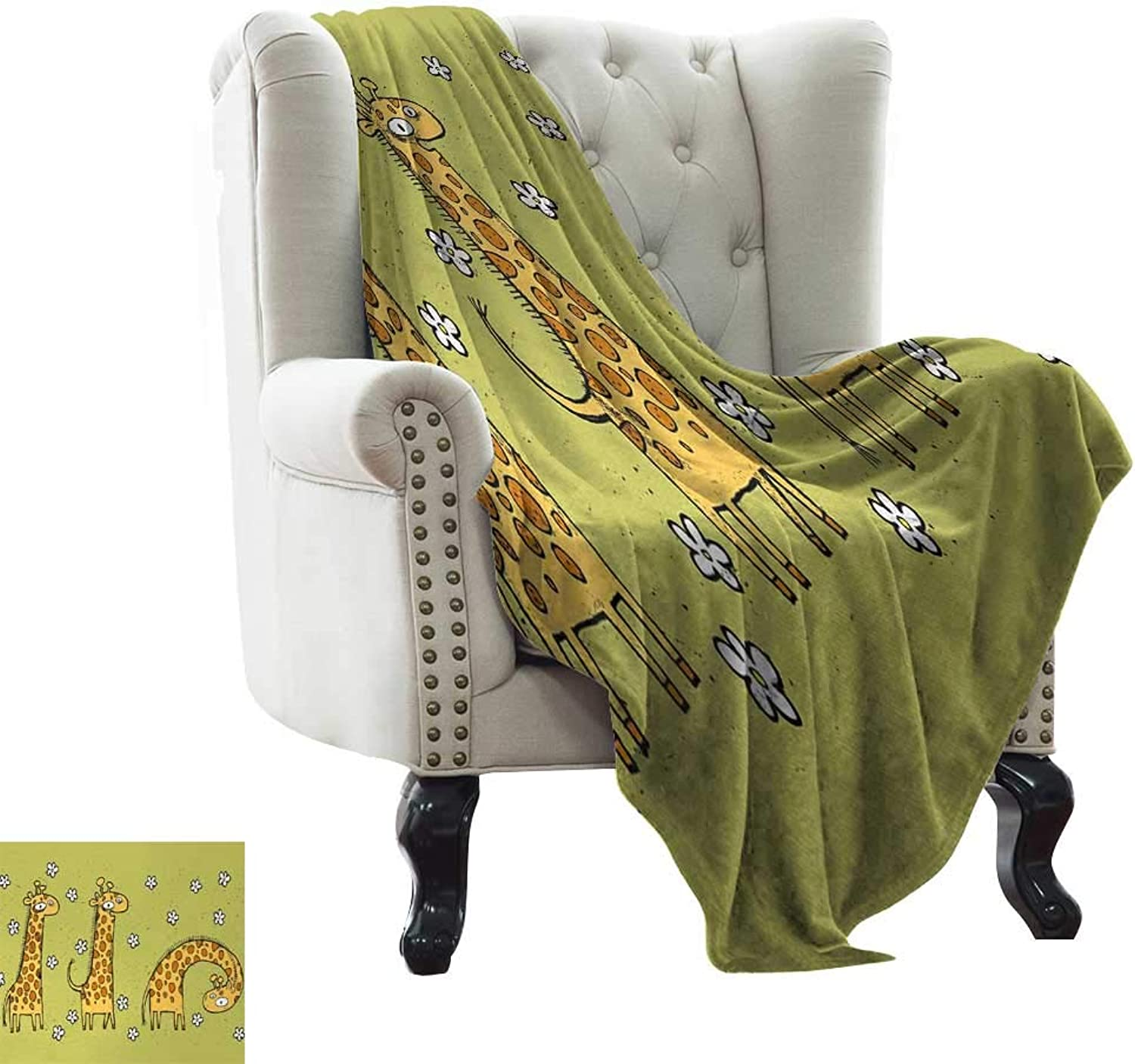 Throw Blanket Animal,Hand Drawn Illustration of Giraffes on Background with Flowers,Avocado Green and Light Caramel Weighted for Adults Kids, Better Deeper Sleep 50 x60