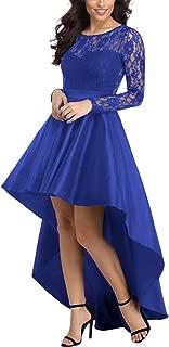 Women's Elegant Lace Short Sleeve A-line High Low Skater Dress Cocktail