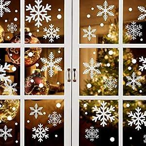 108 pegatinas de copo de nieve, ventana de Navidad se aferra estático PVC copos de nieve ventana se aferra para Acción de Gracias Navidad Invierno Decoraciones Suministros Adornos