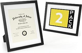 ARTEZA Marcos de Fotos y Diplomas | 27,9 x 35,6 cm (20,3 x 25,4 cm con recuadro) | Paquete de 2 |Portafotos con Acabado en Madera | Frontal de Cristal | Marcos de Foto para Diplomas y certificados