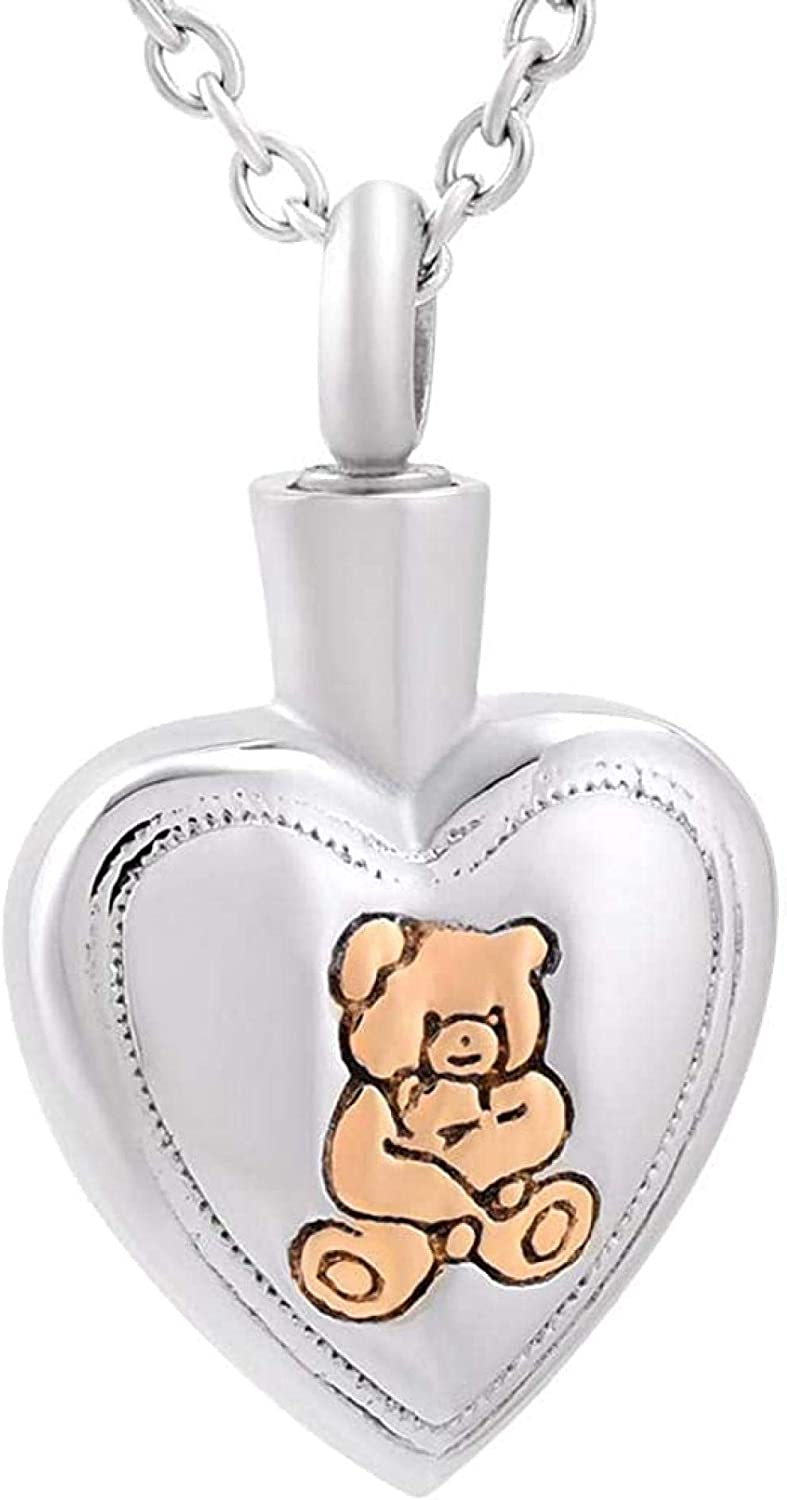 Cremation Memorial Urn Necklace for Ashes Stainless Steel Excellent Quality Cute Small Bear Cremation Jewelry in Pendant Necklace Ashes Urns Cremation Keepsake Memorial