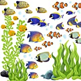 Tropical Fish Wall Decor Ocean Underwater Coral Seaweed Room Decals Stickers, Under Sea Theme Idea Kids Birthday Gift Bathroom Playroom