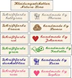 50 Gewebte Etiketten Nature Line'handmade by' mit Motiv und Ihrem Namen zur individuellen...