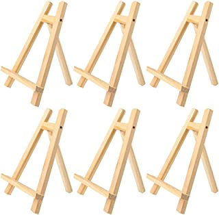 BangQiao 6 Pack 9.50 inch Natural Pine Wood Small Tabletop A-Frame Display Stand Art Easel for Artist Kids Painting Class ...