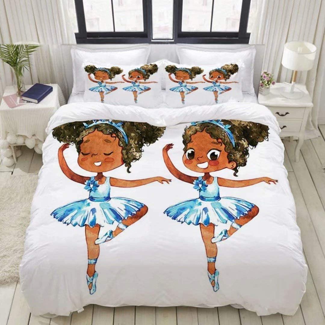2 Pillow Cases) Girls Pink Bedding Duvet Cover Set Queen 3 Piece,Cute Little African American Ballerinas Pattern Bedding Set,Ballet Princess Dancer Theme Comforter Cover with Zipper(1 Duvet Cover