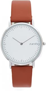 RumbaTime Women's 'SoHo Leather Hazelnut' Quartz Metal and Leather Casual Watch, Color:Brown (Model: 24715)