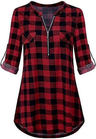 STRIR Mujer Blusa Camisa a Cuadros Mujeres Blusas Camisetas ...