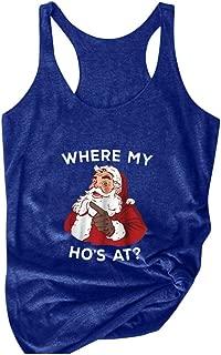 LEKODE Vest Women's Christmas Printed O-Neck Sleeveless