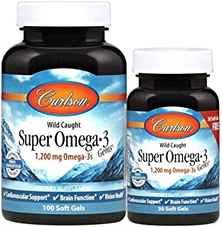 Carlson - Super Omega-3 Gems, 1200 mg Omega-3 Fatty Acids with EPA and DHA, Wild-Caught Norwegian Fish Oil Omega 3 Supplement, Sustainably Sourced Omega 3 Fish Oil, 100+30 Softgels