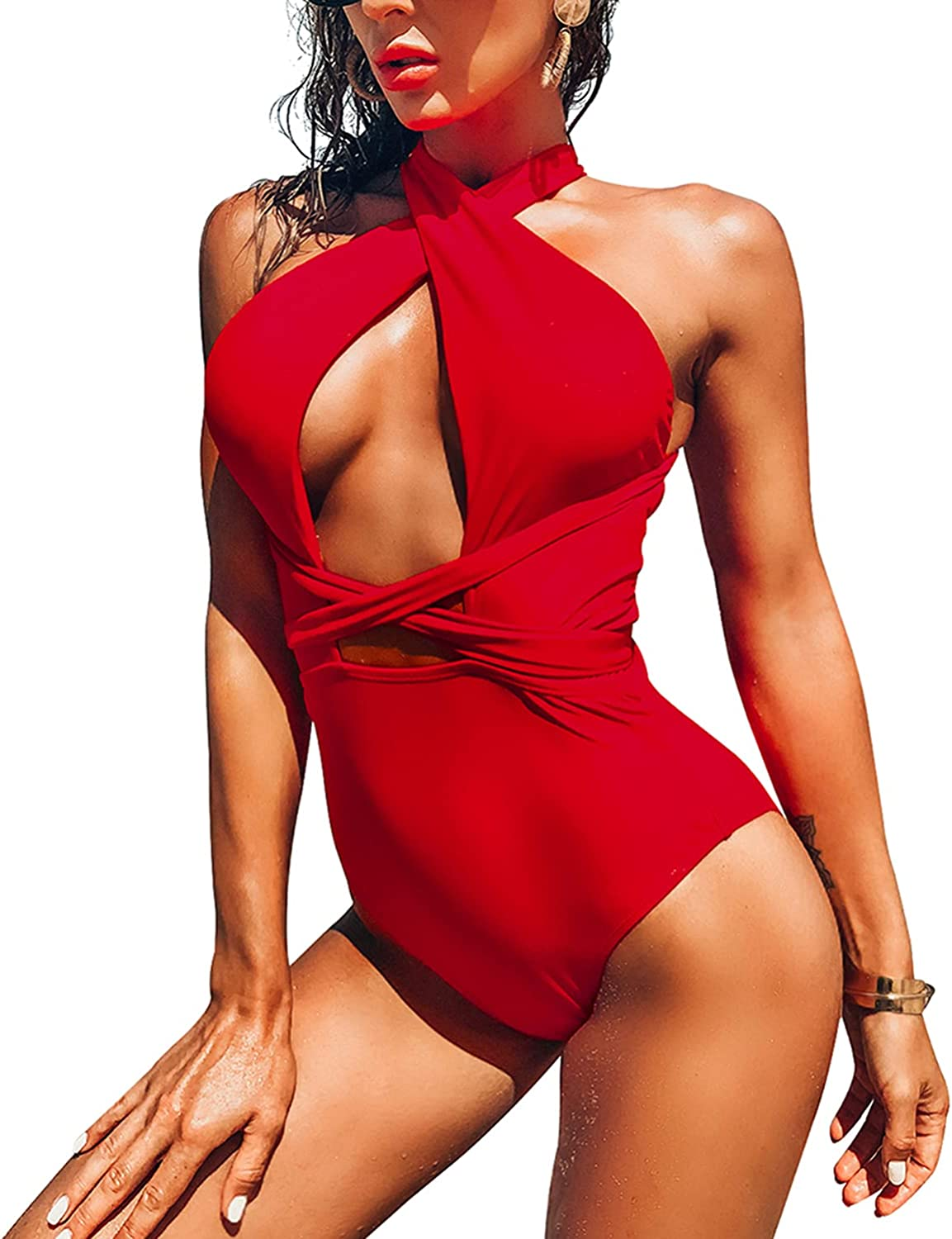 CUWARM Women's One Piece Swimsuits High Sexy Waisted Front Cross Tummy Control Bathing Suits