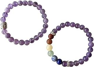 'Body Mind Soul' Amethyst & Multi Flourite Gemstone Chakra Bead Buddha Bracelet Natural Stones Handmade Jewelry Men Women Gift Boxed…
