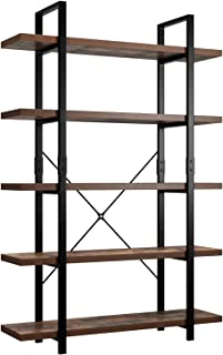 Homfa Bookshelf, 5-Tier Industrial Bookcase, Open Storage Display Shelves Organizer, Accent Furniture with Wood Grain Shel...