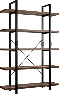 Homfa Bookshelf, 5-Tier Industrial Bookcase, Open Storage Display Shelves Organizer, Accent Furniture with Wood Grain Shelves and Metal Frame for Home Office, 47L x 13W x 70H