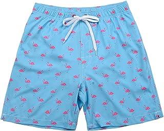 Hopgo Men's Swim Trunk Summer Floral Printed Swim Shorts Quick Dry Beach Boardshorts with Mesh Lining