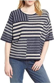 Eileen Fisher Denim Organic Linen Round Neck Top M L