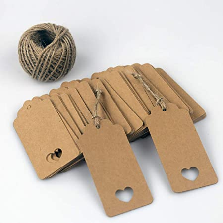 100 PCS Brown Gift Tags + 30 Meters Twine, Heart Cut Out Valentines Paper Tags with String, Dorman & Walsh, 4.5cm x 9.5cm Heart Cut Out Wedding Favor Name Tags Card
