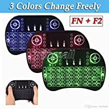 (Upgrade Backlit) LCBOX i8+ Mini Wireless Touch Keyboard Handheld Remote, Touchpad Mouse Combo, 3 Color LED Backlit Remote Control for Android TV Box, PS3 XBOX, Raspberry Pi 3, HTPC,Windows 7,8,10.